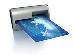 debit card in an atm slot