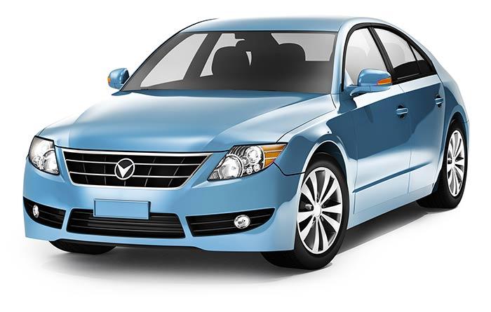 true car blue sedan